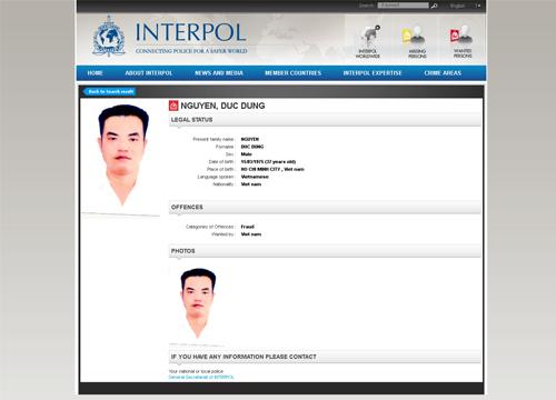 Dũng bị Interpol truy nã.